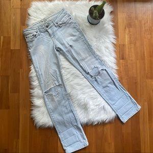 TOPSHOP Light Wash Distressed Wide Leg Flare Jeans